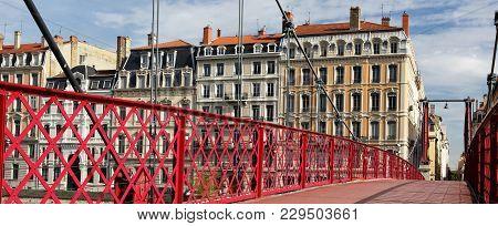 Famous Red Footbridge In Lyon City In France