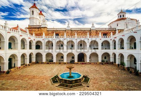 View On Courtyard Of San Felipe De Neri Monastery In Sucre