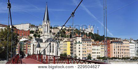 Lyon City With Footbridge On Saone River