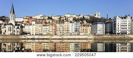 Famous View Of Lyon And Saone River In France