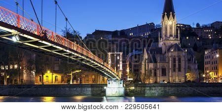 Footbridge Over River Saone At Night, Lyon, France