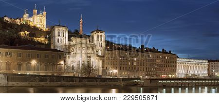 Classical View Of Lyon Over The Saone River At Night