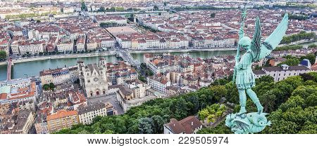 View Of Lyon From The Top Of Notre Dame De Fourviere, France