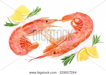 Red Cooked Prawn Or Shrimp With Rosemary And Lemon Isolated On White Background. Top View. Flat Lay.