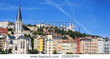 Horizontal View Of Saone River In Lyon City, France