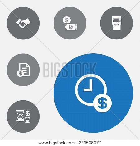 Set Of 6 Finance Icons Set. Collection Of Dollar, Time Is Money, Atm And Other Elements.