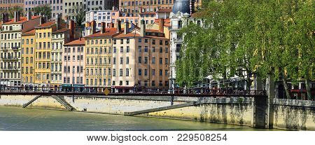View Of Lyon City With Saone River, France