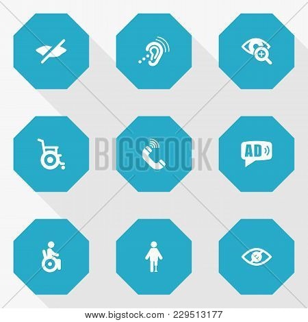 Set Of 9 Accessibility Icons Set. Collection Of Listening Device, Universal Access, Lens And Other E