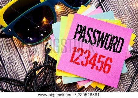 Word, Writing Password 123456. Business Concept For Security Internet Written On Old Wood Wooden Bac