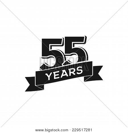 Vector 55 Years Anniversary Logotype. Isolated Black Logo 55th Jubilee On White Background