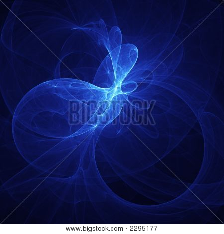 poster of abstract blue shiny chaos rays wind on dark background