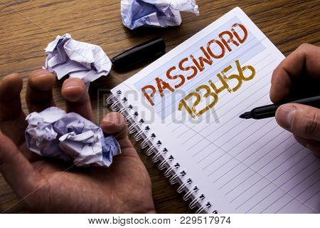 Word, Writing Password 123456. Concept For Security Internet Written On Notebook Notepad Note Paper