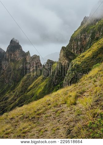 Impressive Rugged Mountain Range Overgrown With Verdant Grass. Xo-xo Valley. Santo Antao Island, Cap