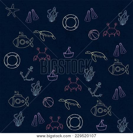 Sea Set. Collection Of Cute Marine Symbols. Marine Theme Design. Suitable For Anniversary, Birthday,