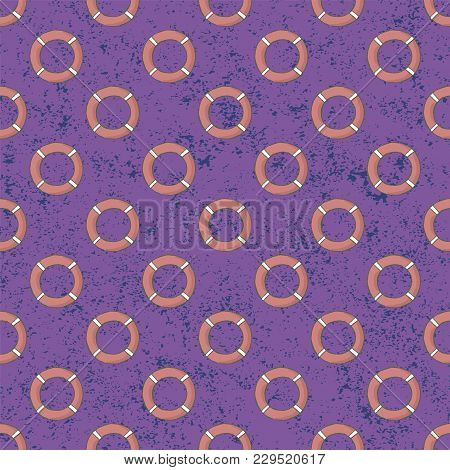 Seamless Lifebuoys Vector Pattern. Background Illustration. You Can Use Web App And Other.