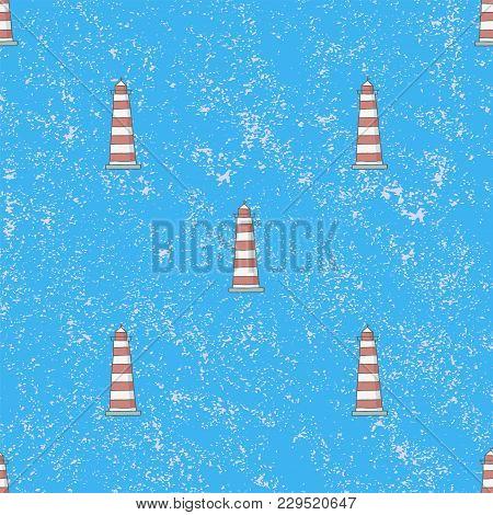 Seamless Pattern Lighthouses Background. Vintage Vector Illustration