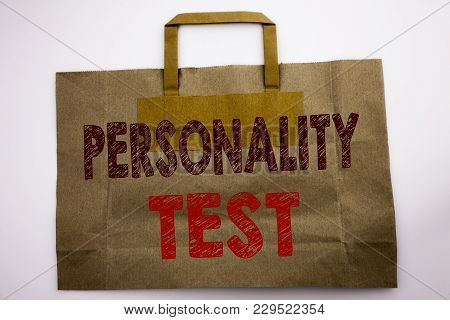 Word, Writing Personality Test. Business Concept For Attitude Assessment Written Shopping Bag, White