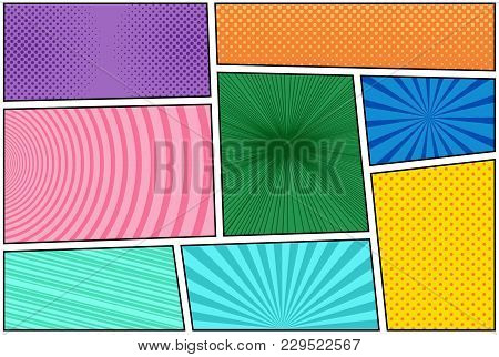 Comic Book Bright Composition With Halftone Rays Dotted Radial Circles Slanted Lines Effects In Diff