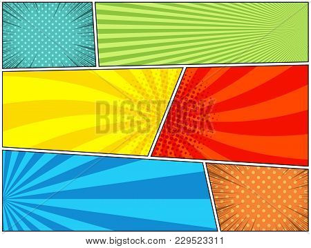Comic Book Horizontal Bright Background With Different Humor Effects In Pop-art Style. Blank Templat