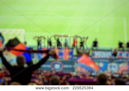 Abstract Soccer Stadium Tribune For Use A Background