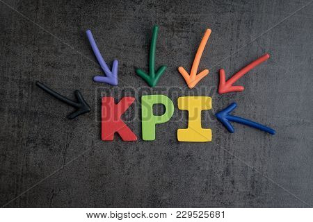Kpi, Key Point Indicator Business Target And Goal Management Concept By Multiple Arrow Pointing To C