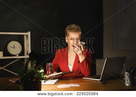 Young Angry Businesswoman Arguing And Shouting At Someone On Mobile. Girl Staying Late At Office, Wo