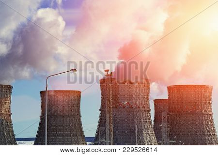 Nuclear Power Plant, Clouds Of Thick Smoke From Cooling Towers Or Chimneys, Atomic Nuclear Energy Co