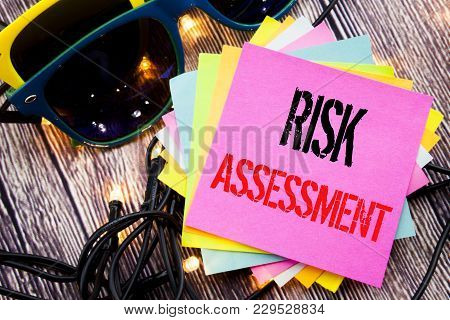 Word, Writing Risk Assessment. Business Concept For Safety Danger Analyze Written On Old Wood Wooden