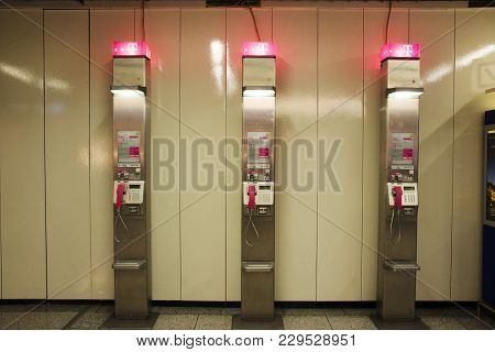 Public Telephone For German People And Foreigner Traveler Use At Frankfurt International Airport On