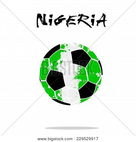 Abstract Soccer Ball Painted In The Colors Of The Nigeria Flag. Vector Illustration