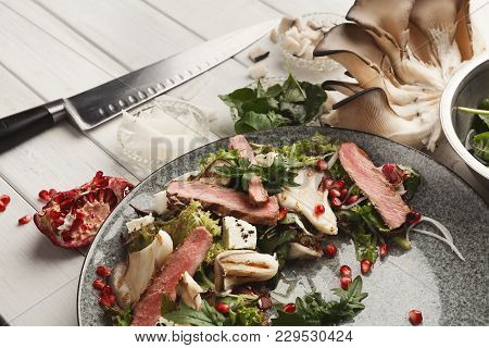 Cooking Ingredients For Warm Salad With Grilled Duck Breast, Mushrooms, Soft Cheese And Mix Of Green