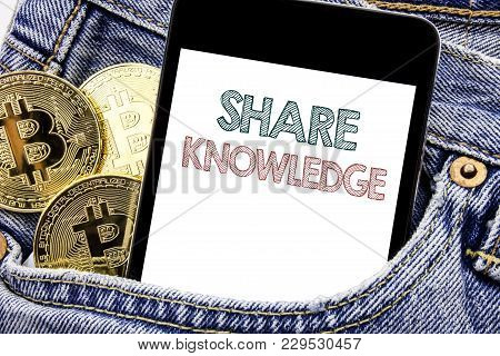 Hand Writing Text Caption Inspiration Showing Share Knowledge. Business Concept For Education Sharin