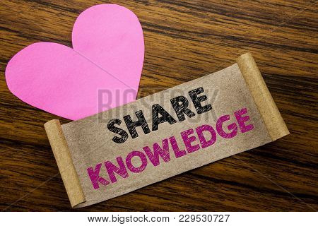 Writing Text Showing Share Knowledge. Business Concept For Education Sharing Written On Sticky Note