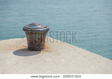 Slovenia - August 20, 2017: Mooring Post On The Pier In Portoroz
