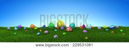 Colorful Easter eggs on green grass with blue sky - 3d render
