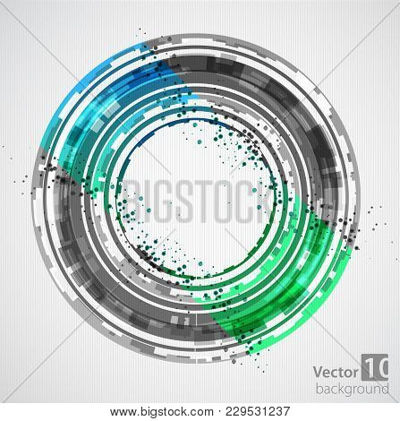 Technological Circle With Colored Sectors. Vector Illustration