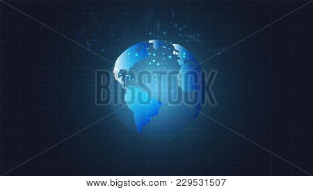 Global Network Connection, Low Poly With Connecting Dots And Lines Background, Symbol Of Internation