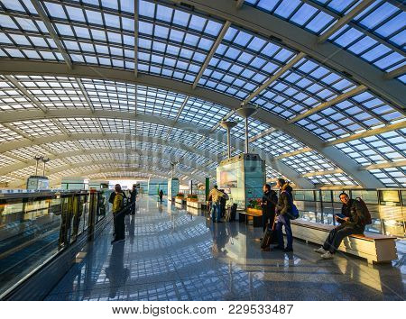 Train Station In Beijing Airport, China