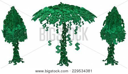 Dollar Money Symbol Tree Folded Cartoon, 3d Illustration, Horizontal, Isolated, Over White