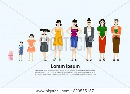 Female Age Set, Different Stages Of Life. Woman Development Grom Baby To Grandmother Isolated Flat V