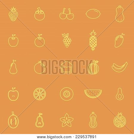 Fruit Line Color Icons On Orange Background, Stock Vector