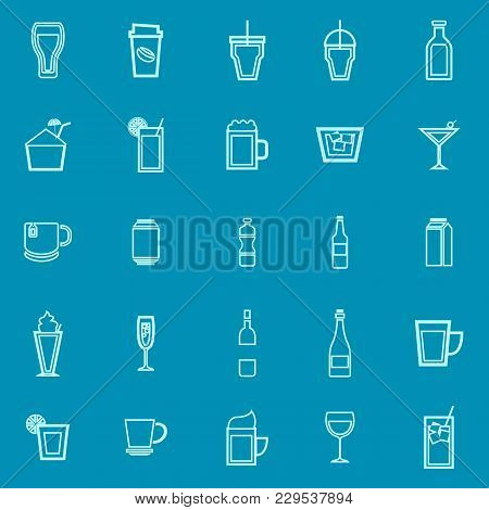 Beverage Line Color Icons On Blue Background, Stock Vector