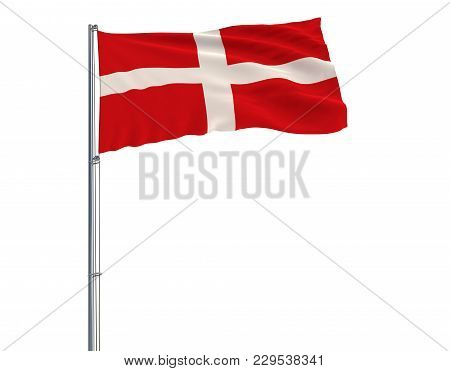 Flag Of Sovereign Military Order Of Malta On The Flagpole Fluttering In The Wind On A White Backgrou