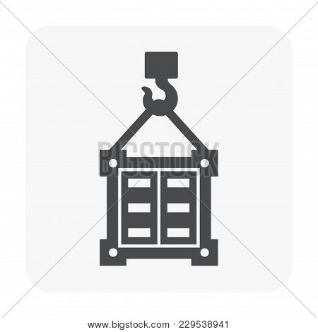 Cargo Container And Crane Icon On White.