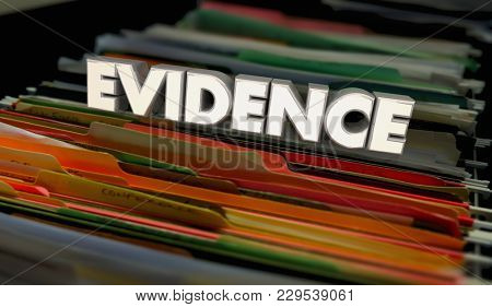 Evidence Proof Records File Folders Documents 3d Illustration