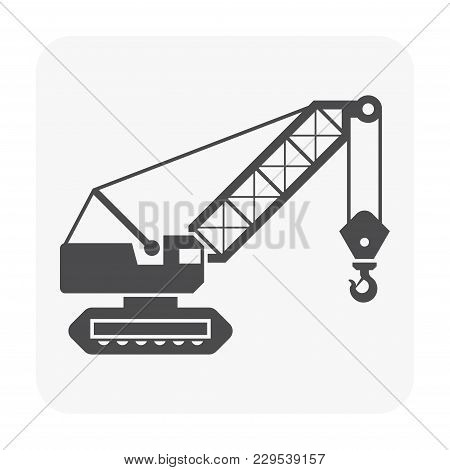 Crane Hook Icon On White, Black Color.
