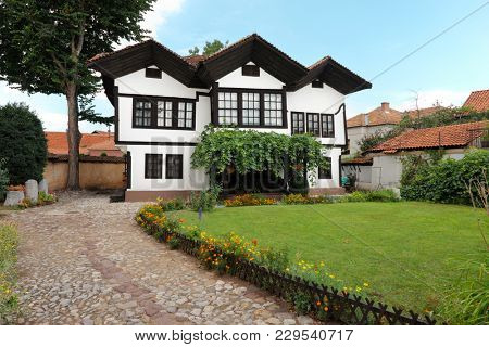 PIROT, SERBIA - JULY 27, 2017: Old House Hristic family is the best preserved cultural monument of Pirot traditional architecture from the middle of the 19th century - Serbia