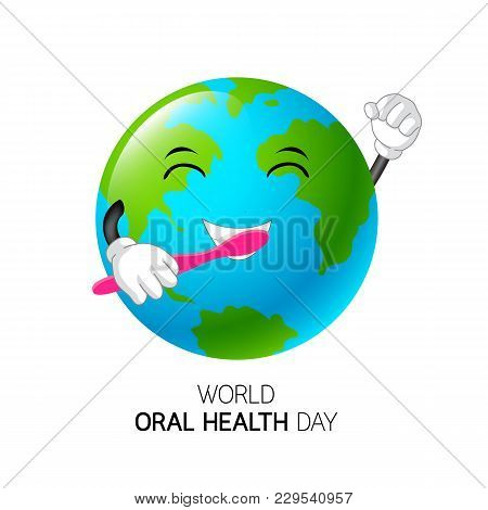 Cute Cartoon Globe Character Holding Toothbrush. World Oral Health Day Concept. Illustration Isolate