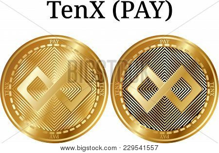 Set Of Physical Golden Coin Tenx (pay), Digital Cryptocurrency. Tenx (pay) Icon Set. Vector Illustra