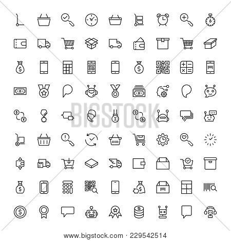 E-shopping Flat Icon Set . Single High Quality Outline Symbol Of Info For Web Design Or Mobile App.